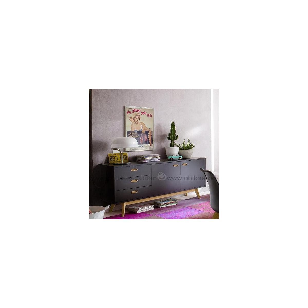BESS by Tenzo Dressoir noir et chêne 170 cm