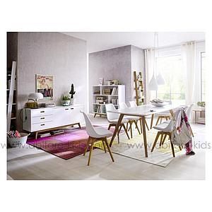 BESS by Tenzo Table 185 cm avec plateau blanc et pieds chêne