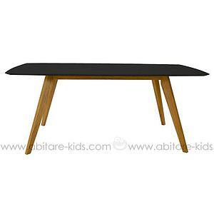 BESS by Tenzo Table 185 cm avec plateau noir et pieds chêne