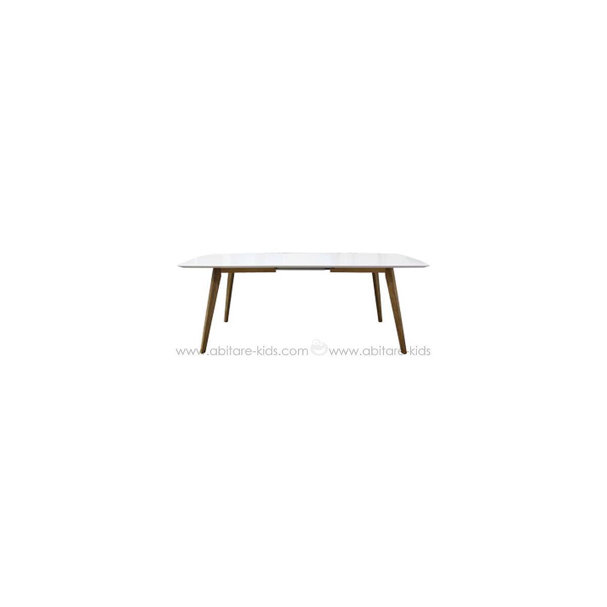 BESS by Tenzo Table à rallonge 160-205 cm  avec plateau blanc et pieds chêne