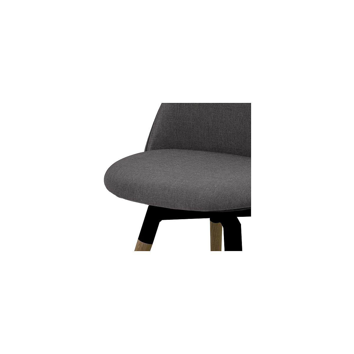 C-BAR by Tenzo Chaise Ally-Fido Assise: anthracite, Pied: noir/chêne