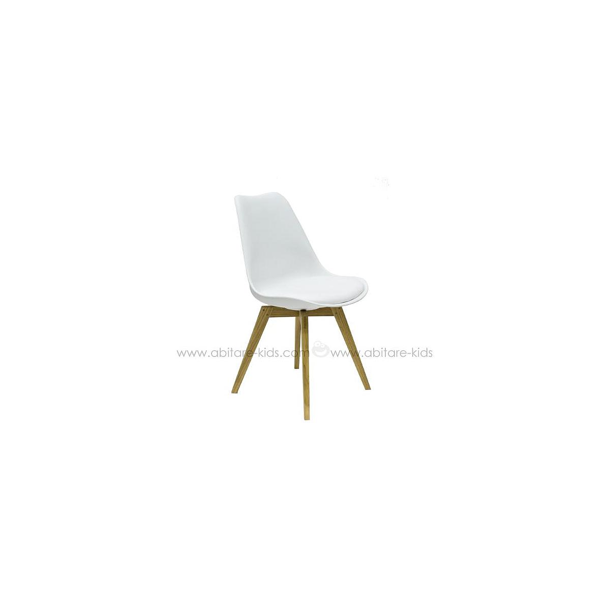 C-BAR by Tenzo Chaise Gina-Bess Assise blanc et pied chêne