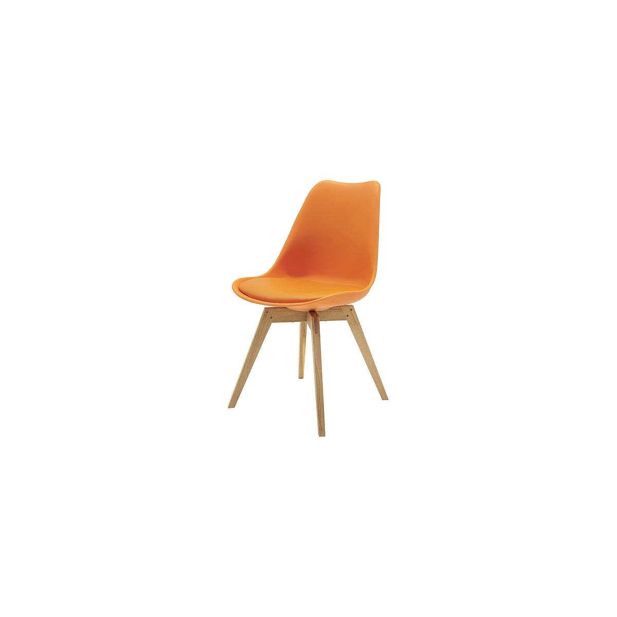 C-BAR by Tenzo Chaise Gina-Bess Assise: orange, Pied: chêne