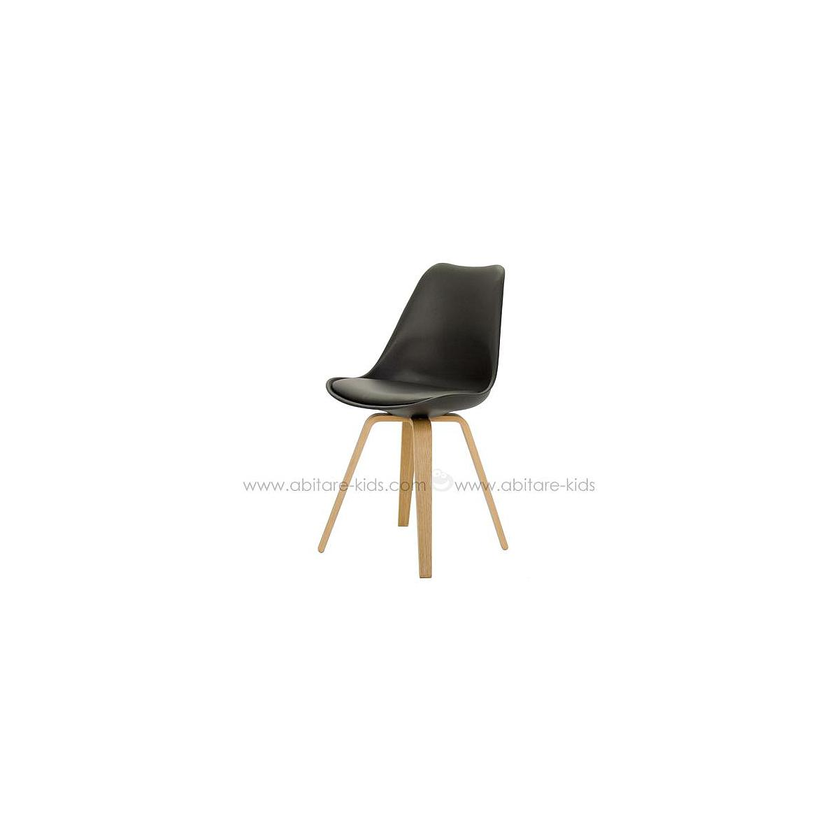 C-BAR by Tenzo Chaise Gina-Ella Assise noire et pied chêne