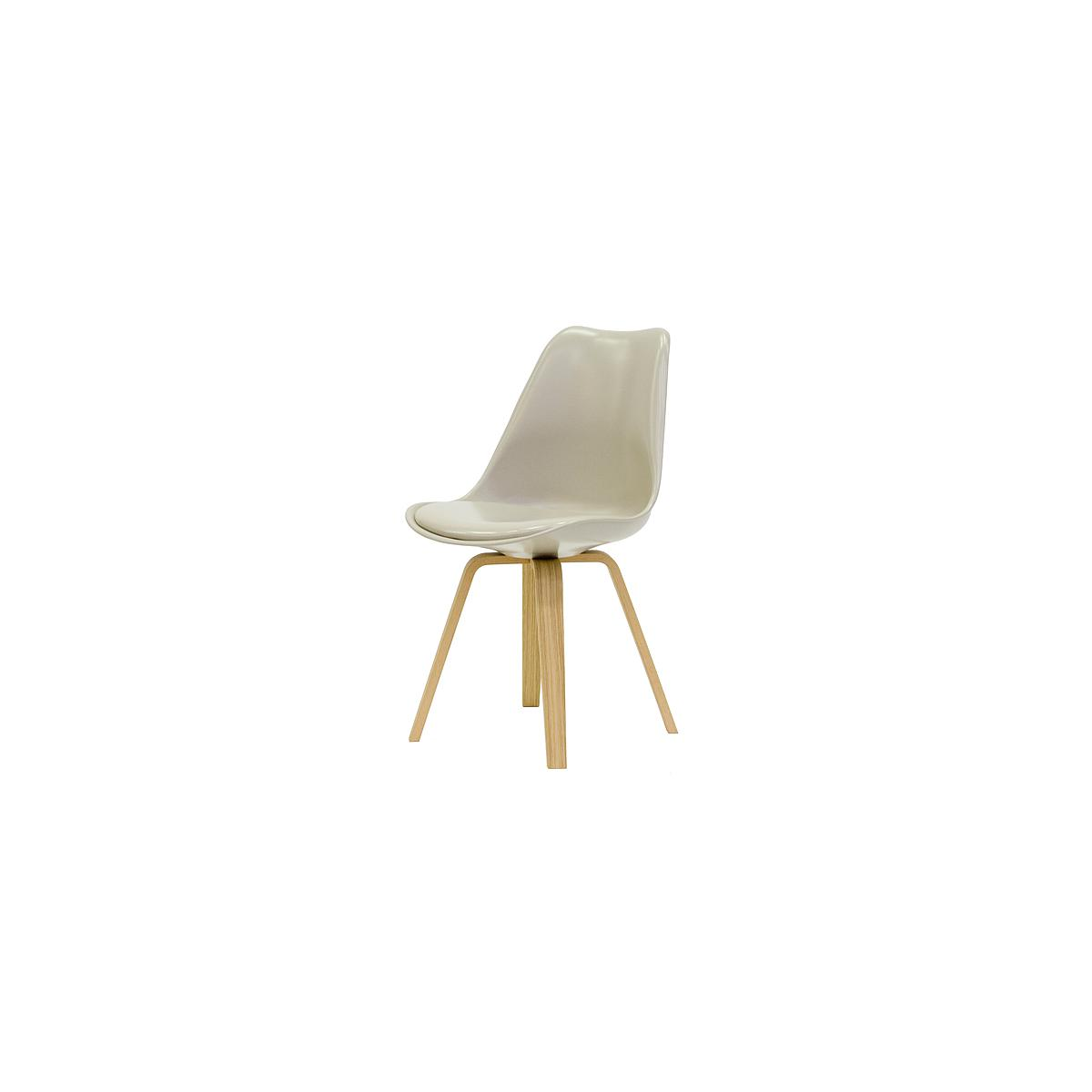 C-BAR by Tenzo Chaise Gina-Ella Assise warmgrey, Pied: chêne
