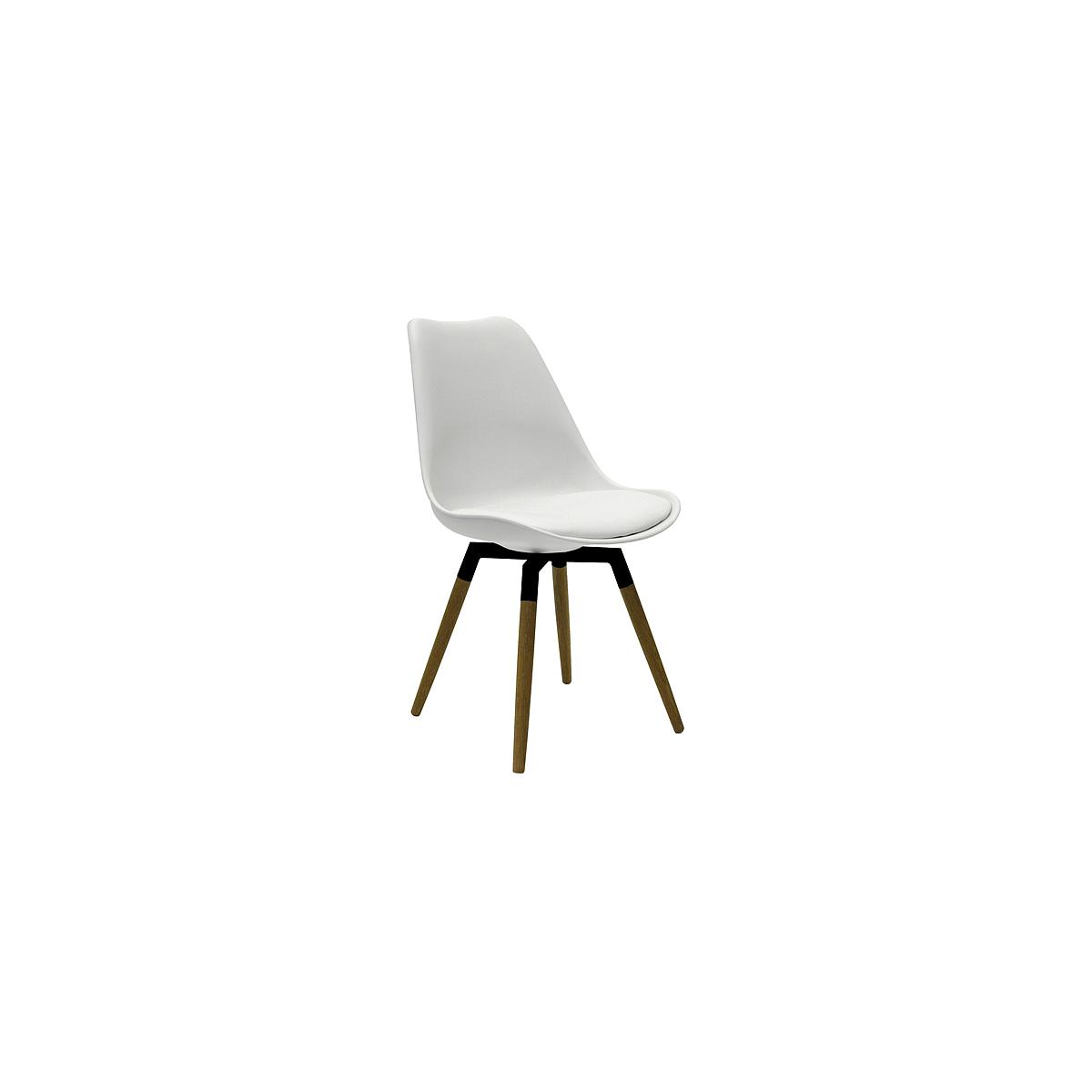 C-BAR by Tenzo Chaise Gina-Fido Assise: blanc, Pied: noir/chêne