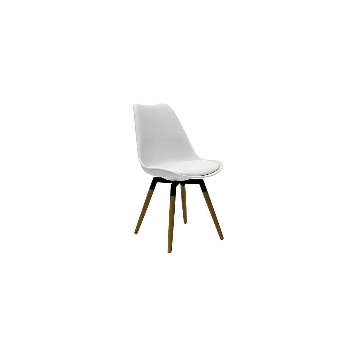 C-BAR by Tenzo Chaise Gina-Fido Assise: blanc, Pied: noir/chêne