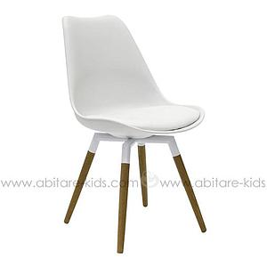 C-BAR by Tenzo Chaise Gina-Fido Assise blanche et pied: blanc/chêne