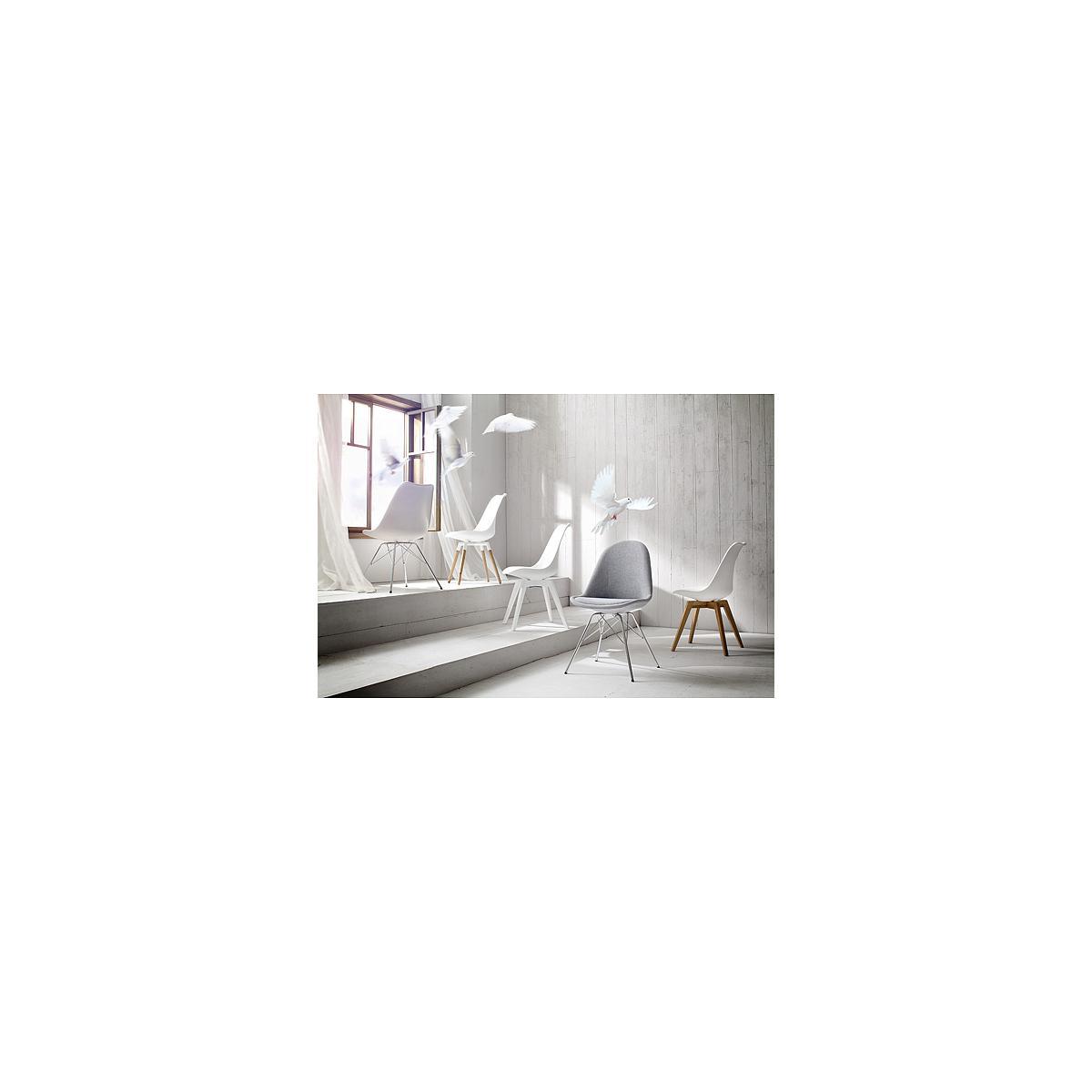 C-BAR by Tenzo Chaise Gina-Fido Assise: gris ton chaud, Pied: blanc/chêne