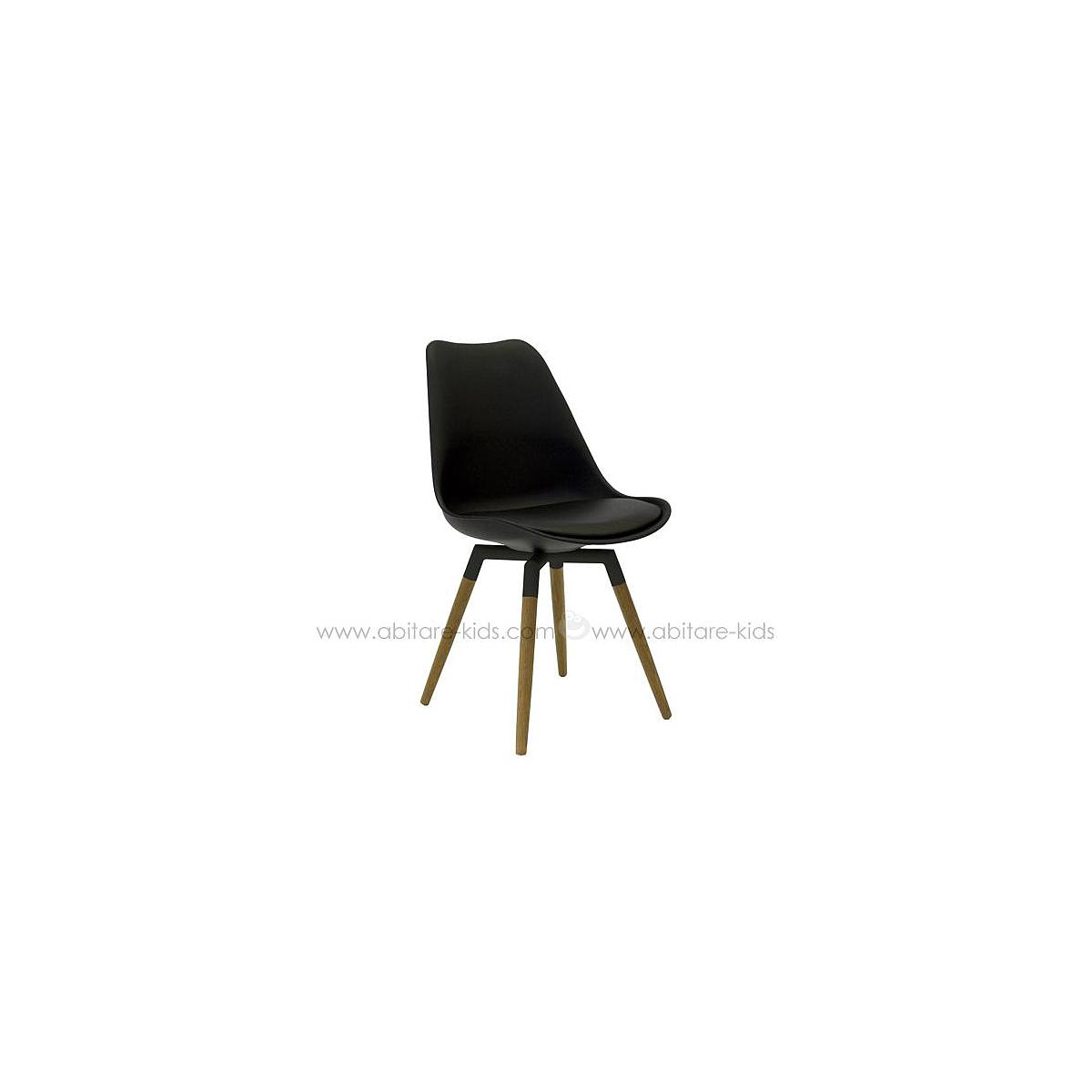 C-BAR by Tenzo Chaise Gina-Fido Assise noire et pied noir/chêne