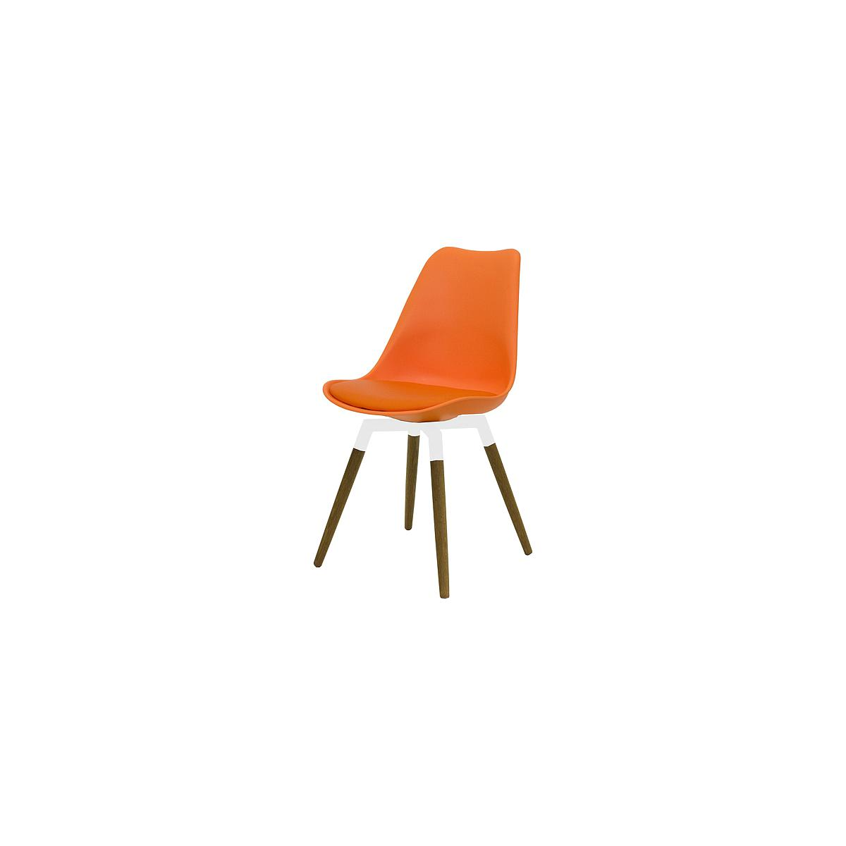 C-BAR by Tenzo Chaise Gina-Fido Assise: orange, Pied: blanc/chêne