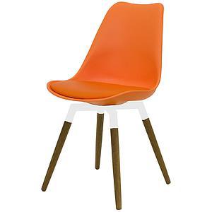 C-BAR by Tenzo Chaise Gina-Fido Assise: orange, Pied: blanc/chêne