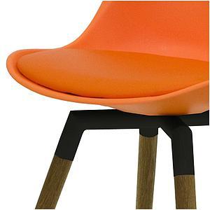 C-BAR by Tenzo Chaise Gina-Fido Assise: orange, Pied: noir/chêne