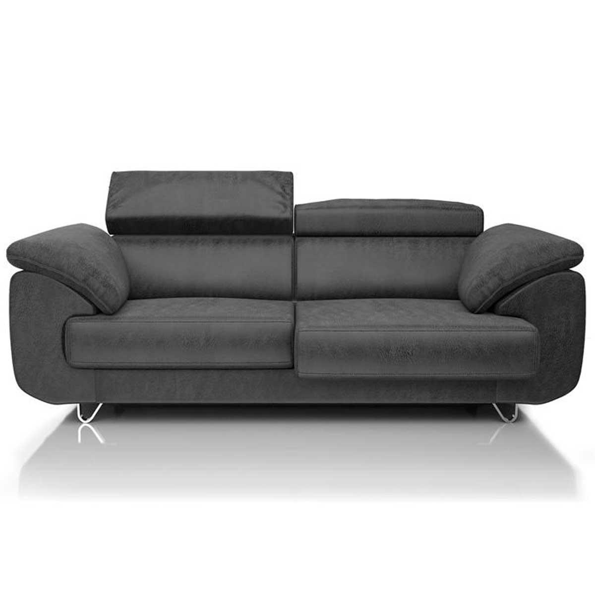 Canapé 2,5 places HAVANNA HetH pieds 9,5cm assise coulissante Gp.1Leopard Atnthracite