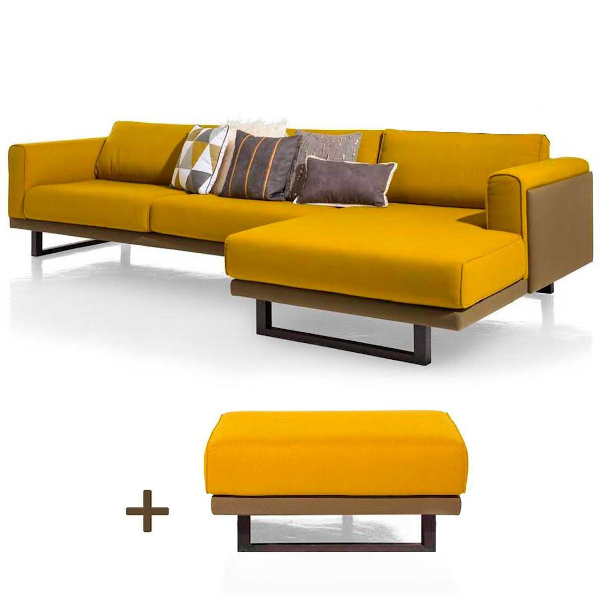 Canapé 3 places complet méridienne droite-pouf SILVES Xooon ocre-vert foncé