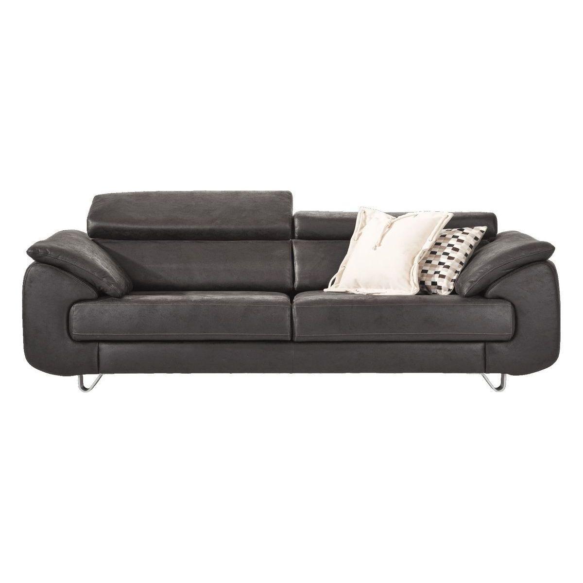 Canapé 3 places HAVANNA HetH assise coulissante pieds 9,5cm Anthracite LEOPARD