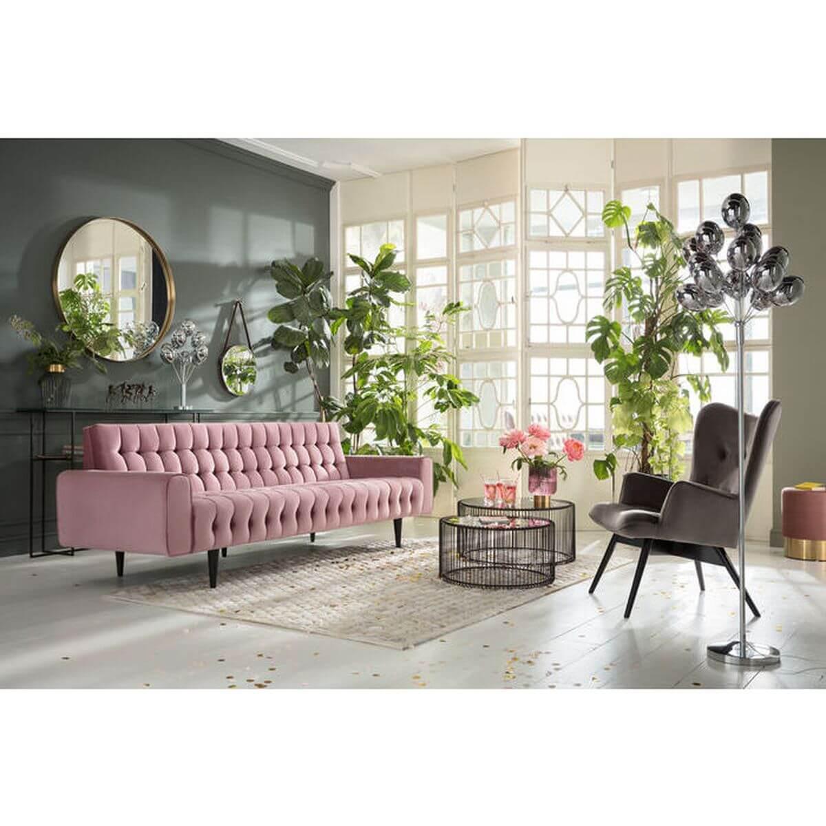 Canapé 3 places MILCHBAR Kare Design velour rose