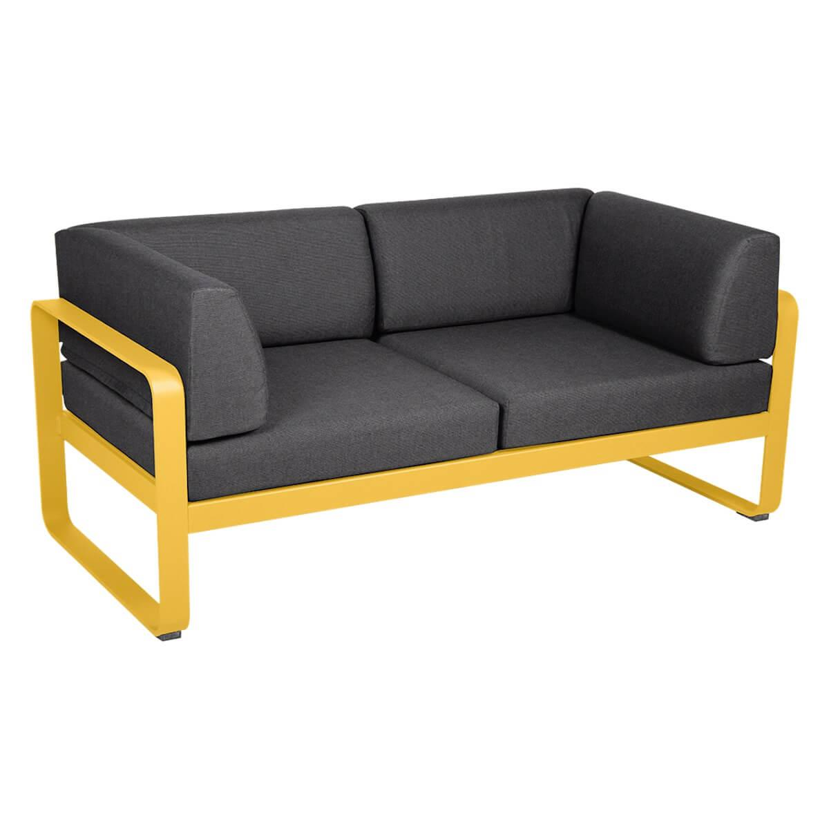 Canapé Club 2 places BELLEVIE Fermob miel-gris graphite