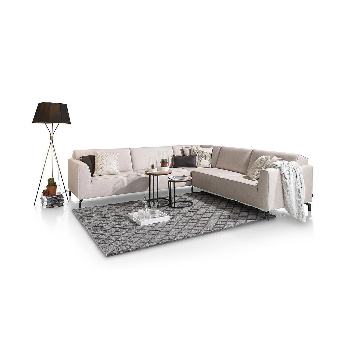 Canapé d'angle NOVARA HetH 3 et 2,5 places tissu Fantasy beige