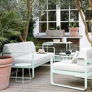 Canapé de jardin 2 places BELLEVIE Fermob blanc coton-blanc grisé