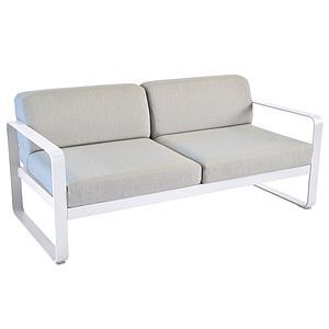 Canapé de jardin 2 places BELLEVIE Fermob blanc coton-gris flanelle