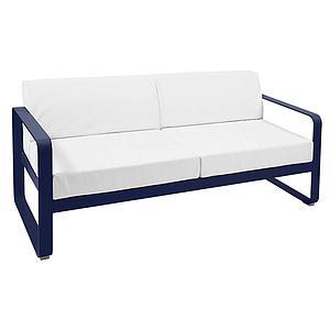 Canapé de jardin 2 places BELLEVIE Fermob bleu abysse-blanc grisé