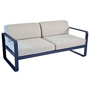 Canapé de jardin 2 places BELLEVIE Fermob bleu abysse-gris flanelle