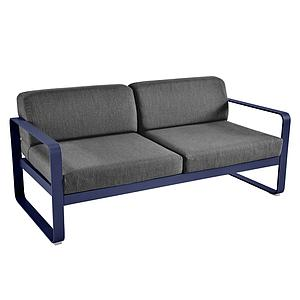 Canapé de jardin 2 places BELLEVIE Fermob bleu abysse-gris graphite