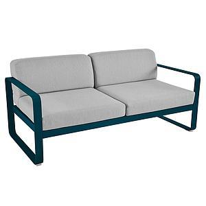 Canapé de jardin 2 places BELLEVIE Fermob bleu acapulco-gris flanelle
