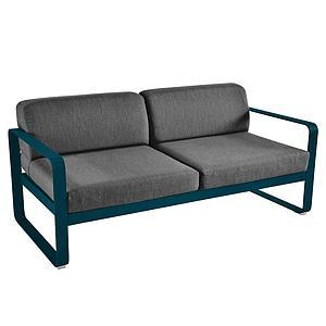 Canapé de jardin 2 places BELLEVIE Fermob bleu acapulco-gris graphite