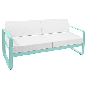 Canapé de jardin 2 places BELLEVIE Fermob bleu lagune-blanc grisé