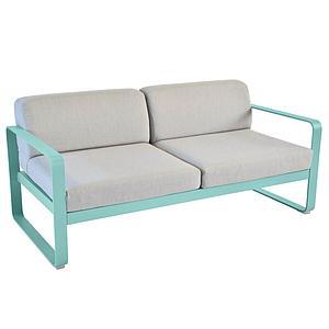 Canapé de jardin 2 places BELLEVIE Fermob bleu lagune-gris flanelle