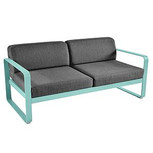 Canapé de jardin 2 places BELLEVIE Fermob bleu lagune-gris graphite