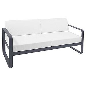 Canapé de jardin 2 places BELLEVIE Fermob carbone-blanc grisé