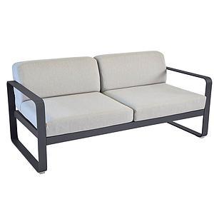 Canapé de jardin 2 places BELLEVIE Fermob carbone-gris flanelle