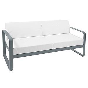Canapé de jardin 2 places BELLEVIE Fermob gris orage-blanc grisé