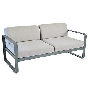 Canapé de jardin 2 places BELLEVIE Fermob gris orage-gris flanelle