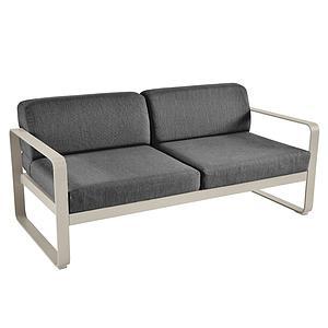 Canapé de jardin 2 places BELLEVIE Fermob muscade-gris graphite