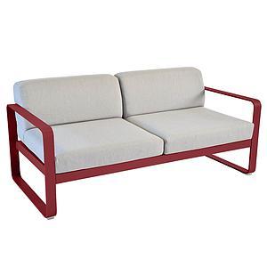 Canapé de jardin 2 places BELLEVIE Fermob piment-gris flanelle