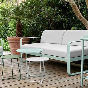 Canapé de jardin 2 places BELLEVIE Fermob réglisse-blanc grisé