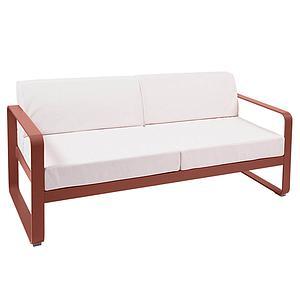 Canapé de jardin 2 places BELLEVIE Fermob rouge ocre-blanc grisé