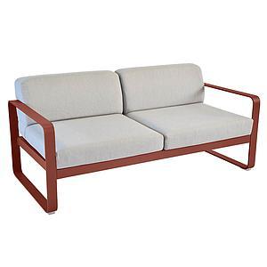 Canapé de jardin 2 places BELLEVIE Fermob rouge ocre-gris flanelle