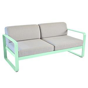 Canapé de jardin 2 places BELLEVIE Fermob vert opaline-gris flanelle