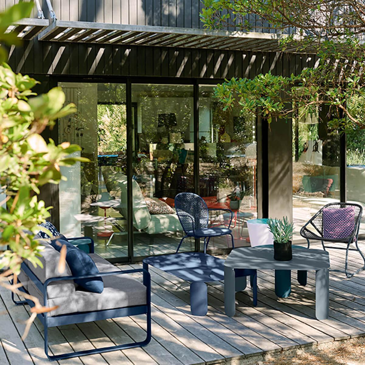 Canapé de jardin 2 places BELLEVIE Fermob vert opaline-gris graphite