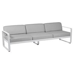 Canapé de jardin 3 places BELLEVIE Fermob blanc coton-gris flanelle