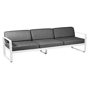 Canapé de jardin 3 places BELLEVIE Fermob blanc coton-gris graphite