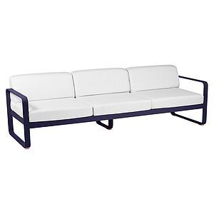 Canapé de jardin 3 places BELLEVIE Fermob bleu abysse-blanc grisé