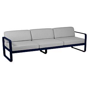 Canapé de jardin 3 places BELLEVIE Fermob bleu abysse-gris flanelle