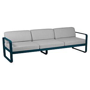 Canapé de jardin 3 places BELLEVIE Fermob bleu acapulco-gris flanelle