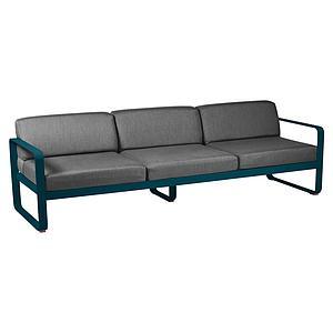 Canapé de jardin 3 places BELLEVIE Fermob bleu acapulco-gris graphite